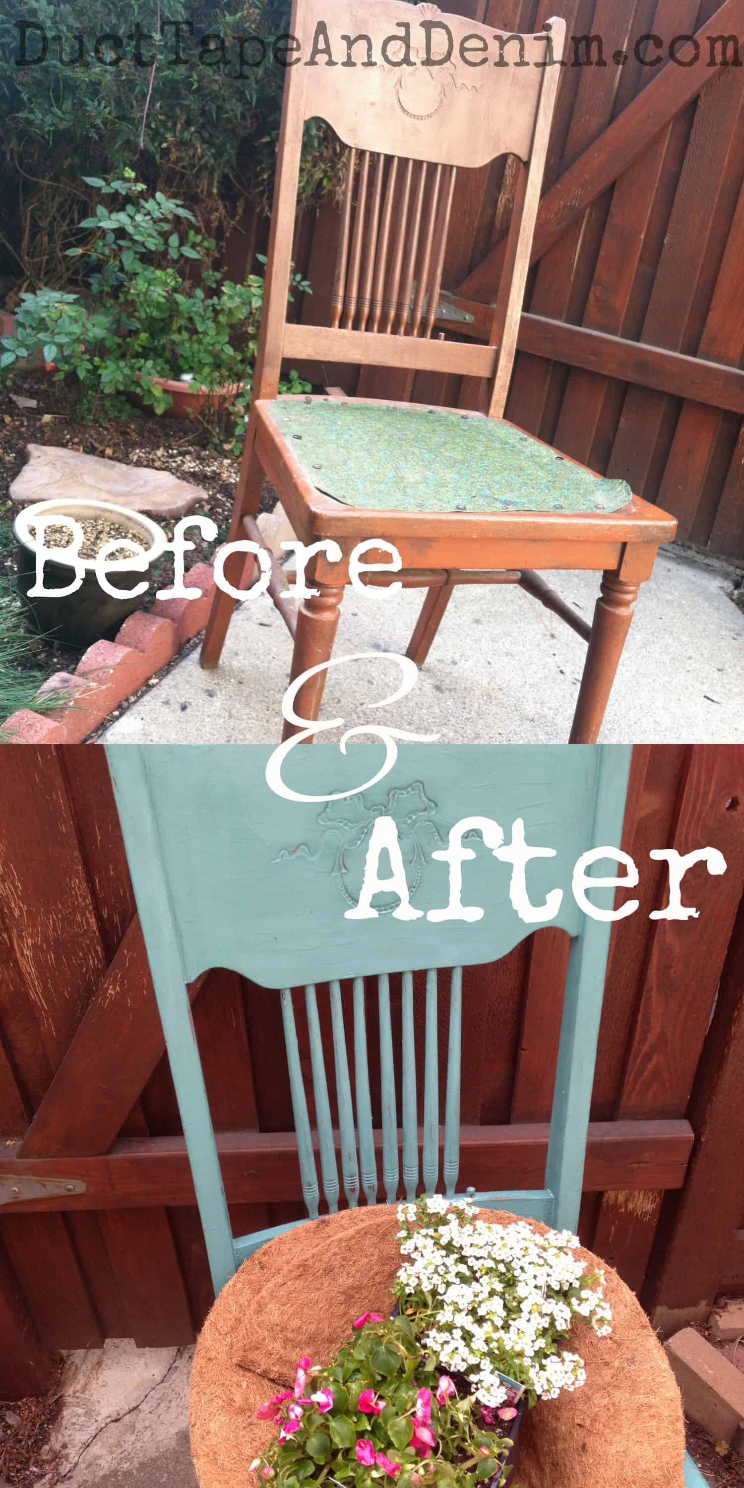 Before and after chair in CeCe Caldwell Destin Gulf Green repurposed to planter