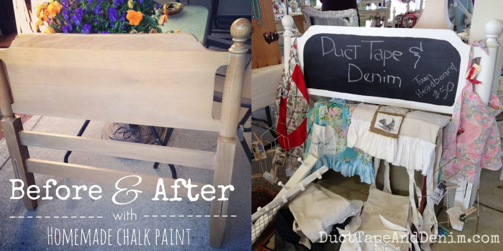 Before and after, twin bed headboard painted with homemade chalk paint and chalkboard paint, now my vintage sale booth sign! | DuctTapeAndDenim.com