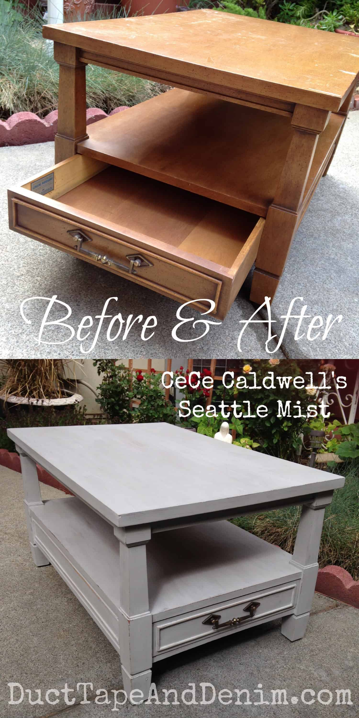 Before and after vintage end table painted with CeCe Caldwell natural chalk and clay paint in Seattle Mist | DuctTapeAndDenim.com