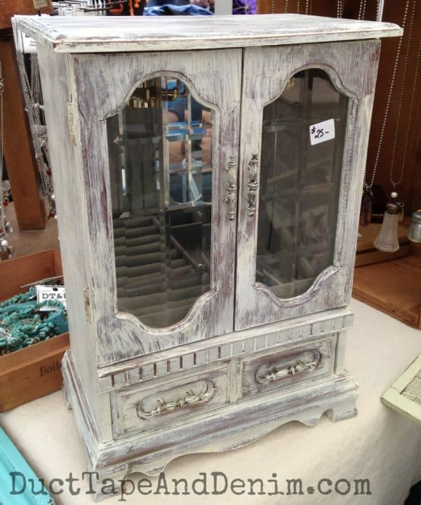 DRY BRUSHING After-photo-jewelry-cabinet-painted-in-CeCe-Caldwell-Vintage-White-natural-chalk-and-clay-paint-DuctTapeAndDenim.com_