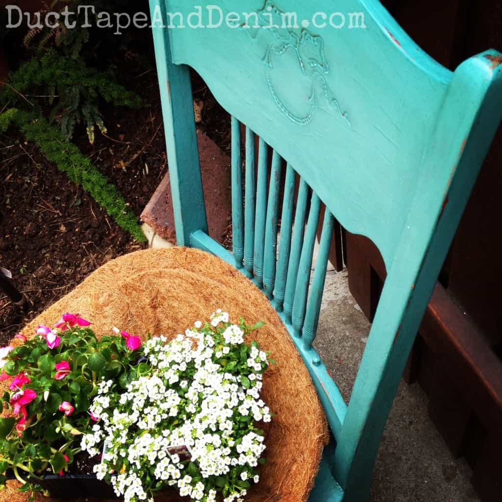 Finished chair painted with CeCe Caldwell Destin Gulf Green repurposed as a planter | DuctTapeAndDenim.com