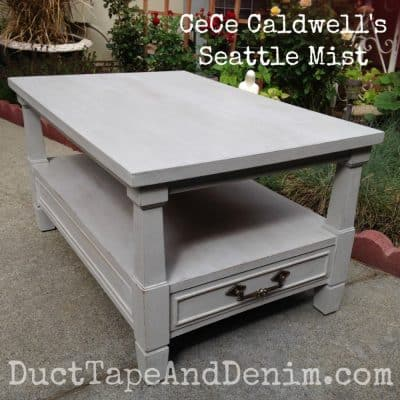 Vintage End Table Painted with Gray Chalk Type Paint