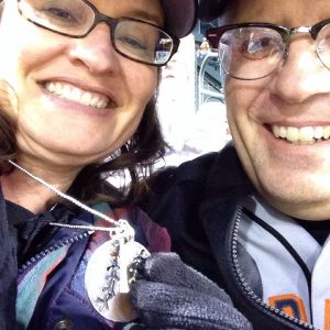 Me & my I Love Baseball necklace at the San Francisco Giants game | DuctTapeAndDenim.com