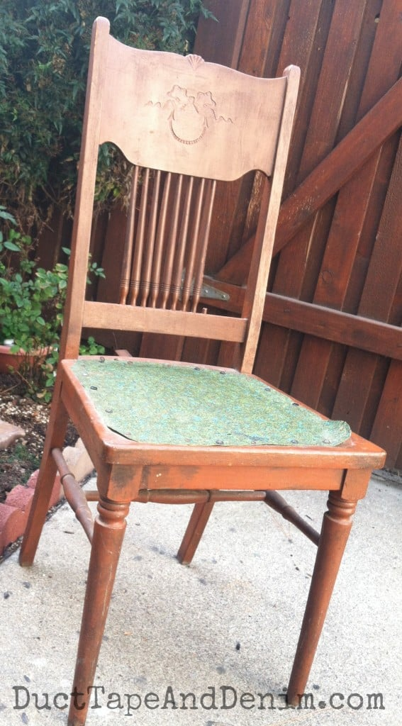 My vintage chair before painting | DuctTapeAndDenim.com