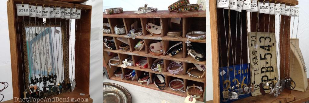 My vintage crate jewelry displays at Treasure Island Flea | DuctTapeAndDenim.com