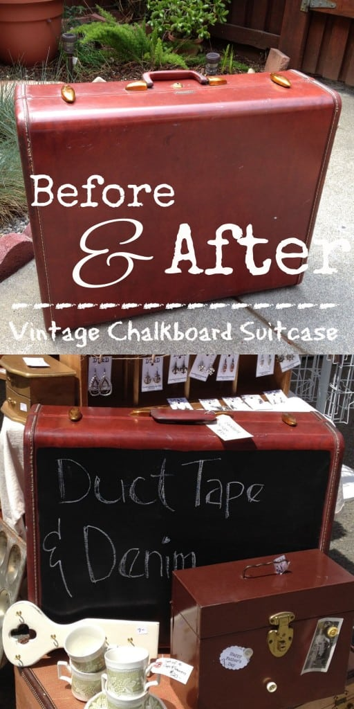 Before and After painting my vintage suitcase with chalkboard paint. Makes a great sign for weddings, parties, or flea market booth | DuctTapeAndDenim.com