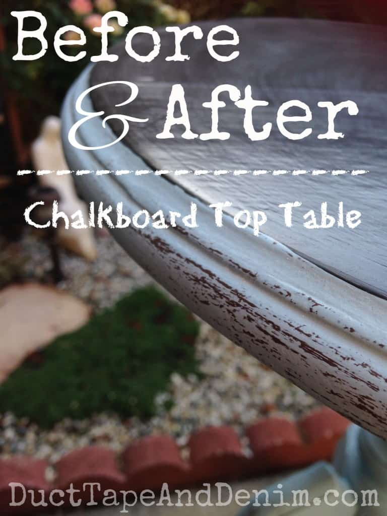 Before and after chalkboard table, Memphis Blue CeCe Caldwell's natural chalk and clay paint | DuctTapeAndDenim.com