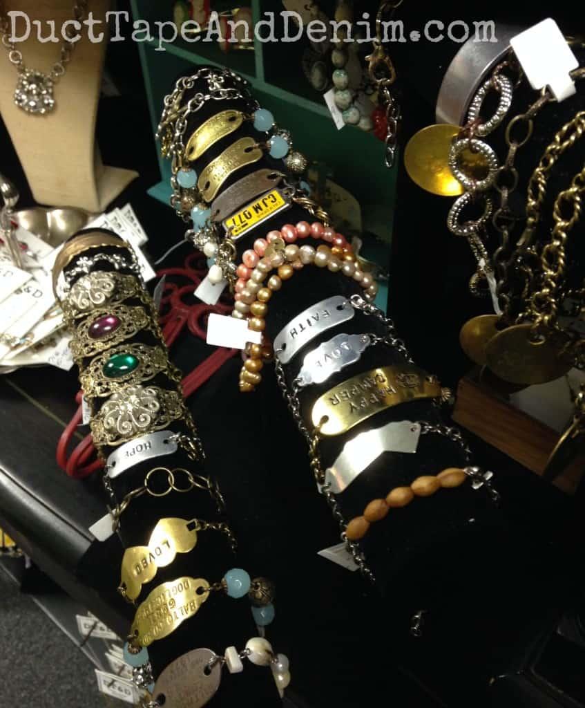 Bracelets on my shelf at Paris Flea Market | DuctTapeAndDenim.com