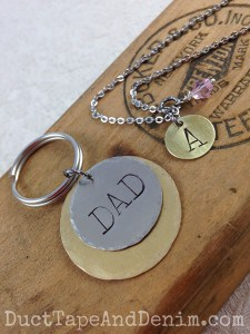 Hand-stamped jewelry I made with the new metal stamps I bought at an antique show. Dad keyring. Custom letter A necklace | DuctTapeAndDenim.com