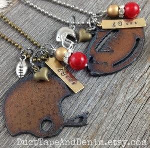 I Love Football Necklaces for San Francisco 49ers fans | DuctTapeAndDenim.com