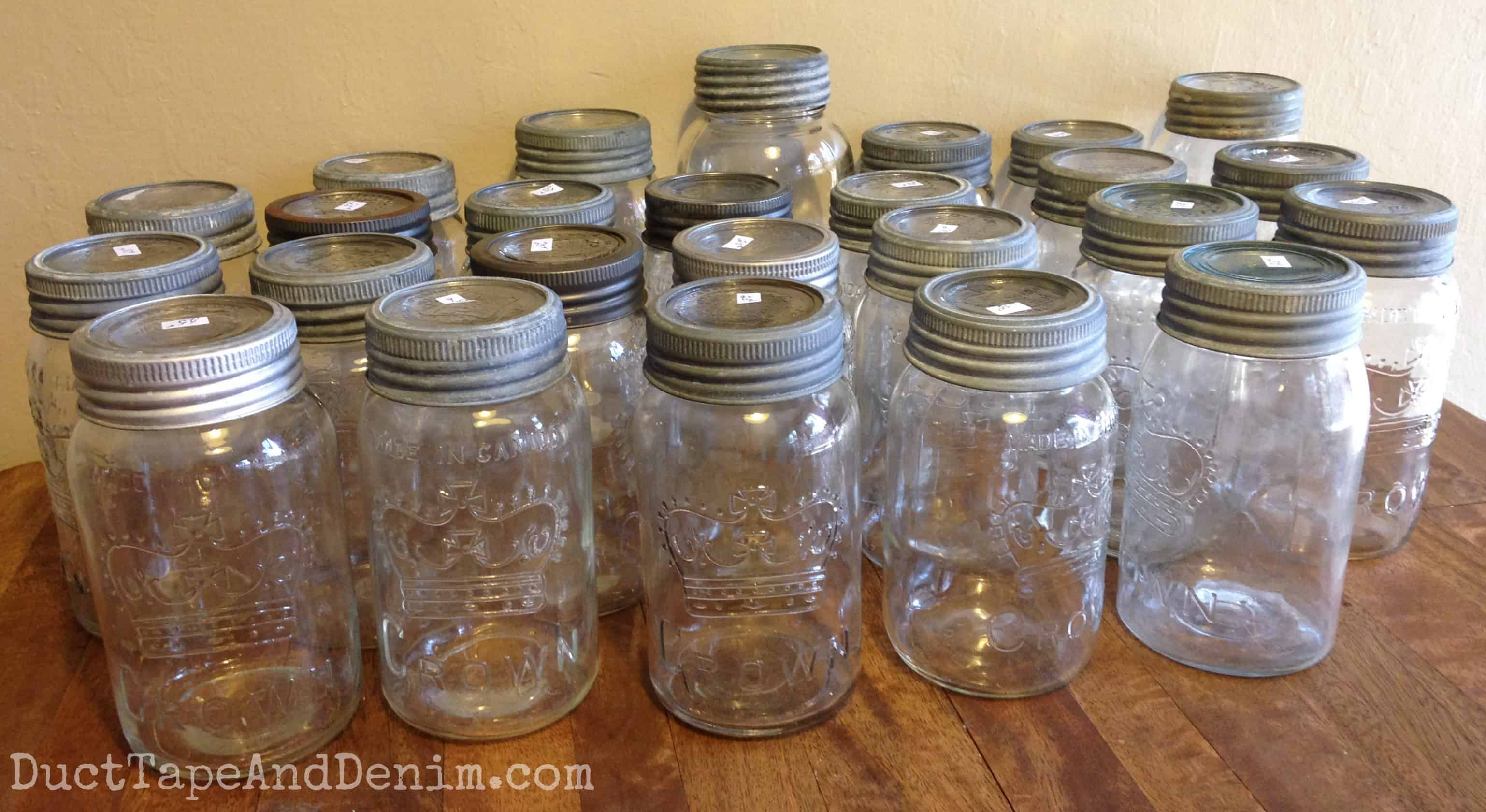 Vintage Crown canning jars from Canada