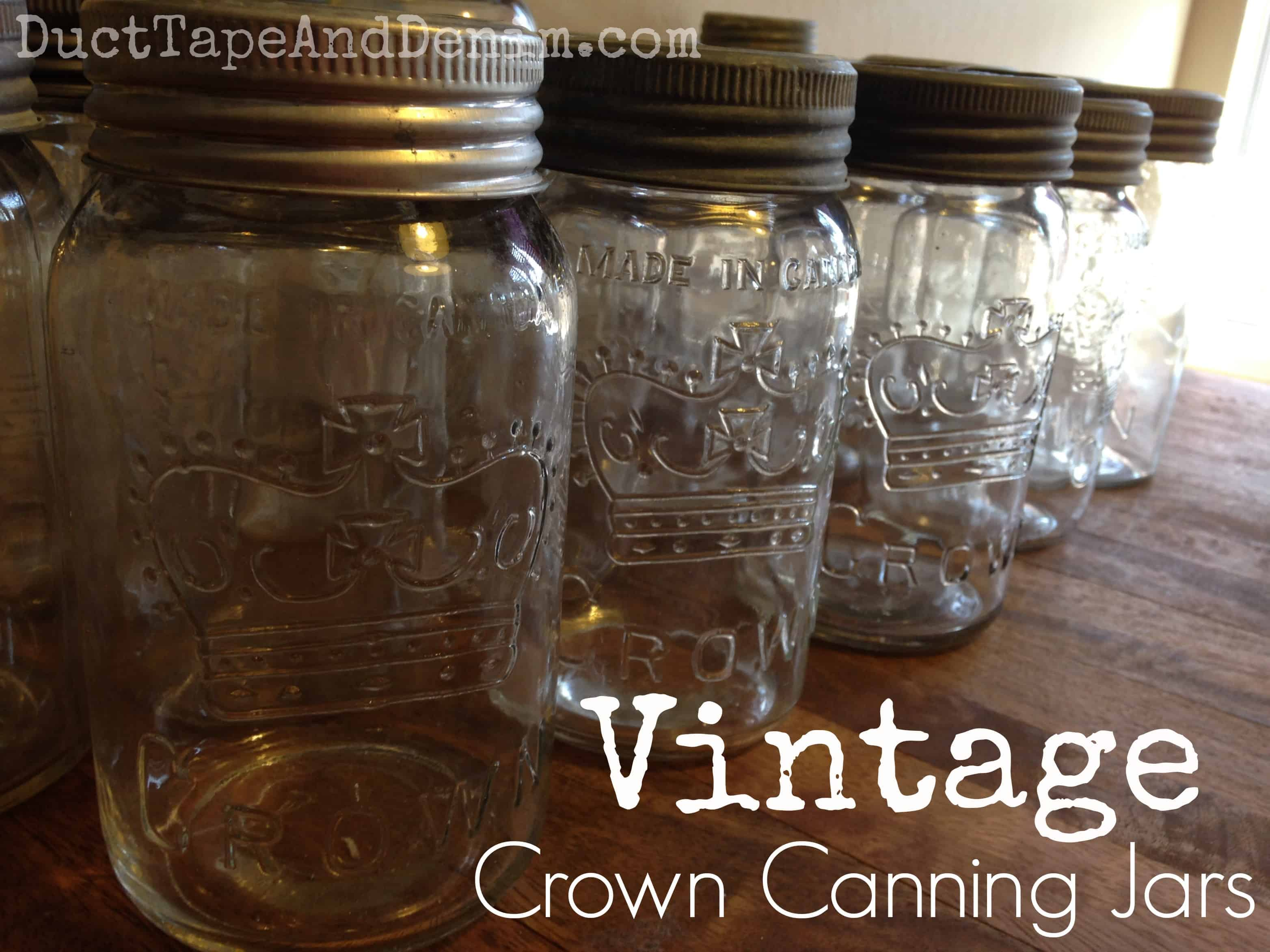 Vintage Crown canning jars with glass tops.