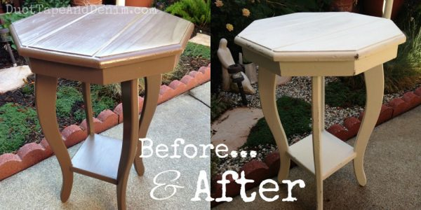 Before and after photos of my garage sale octagon table | DuctTapeAndDenim.com