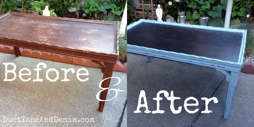 Before and after photos of the coffee table I painted with CeCe Caldwell's Memphis Blue and chalkboard paint | DuctTapeAndDenim.com