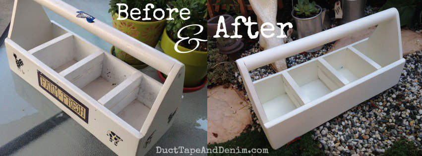 Before and after photos of the tool caddy I painted with CeCe Caldwell's Vintage White | DuctTapeAndDenim.com