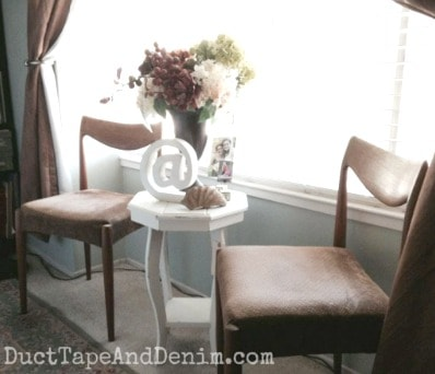 Octagon table makeover, garage sale to my bedroom