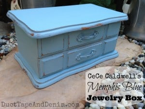 Memphis Blue chalk and clay paint on a vintage jewelry box with mirror. Insides were dirty and stained when I found it. I made it beautiful again with decoupage. Take a look inside now! | DuctTapeAndDenim.com