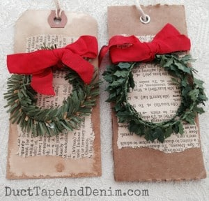 Christmas wreath gift tags.  Tutorial on the blog or completed tags available in my Etsy shop. | DuctTapeAndDenim.com