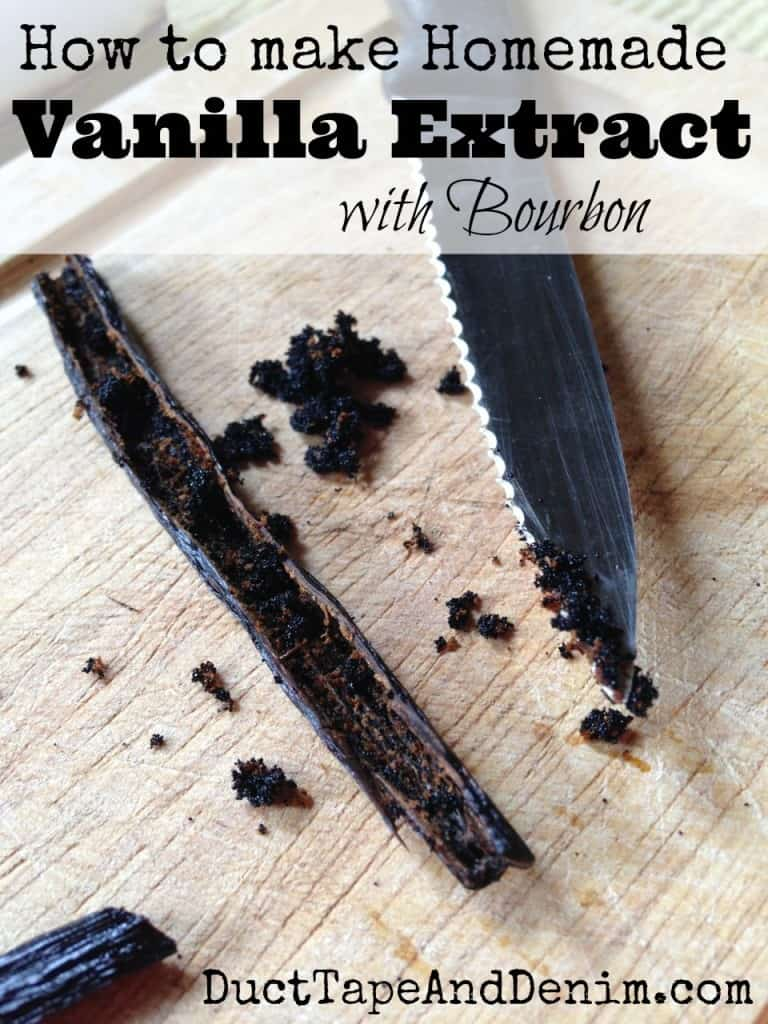 How to make vanilla extract at home with bourbon or vodka. Homemade vanilla extract recipe and more Christmas gift ideas on DuctTapeAndDenim.com