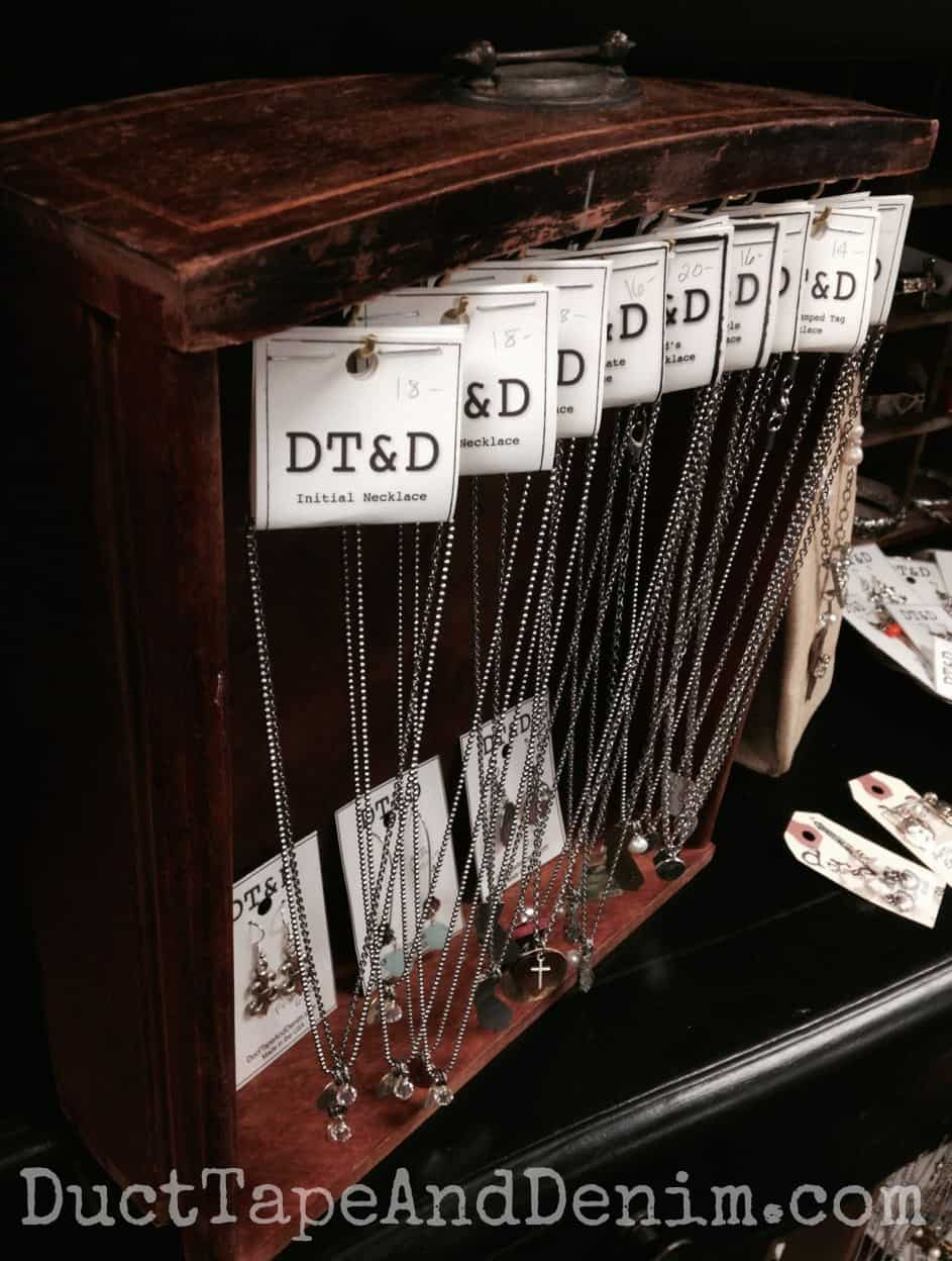 I found this drawer on the side of the road and now it's being used to display necklaces | DuctTapeAndDenim.com
