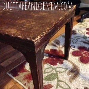 See how we updated this beat up coffee table we bought at a garage sale. | DuctTapeAndDenim.com
