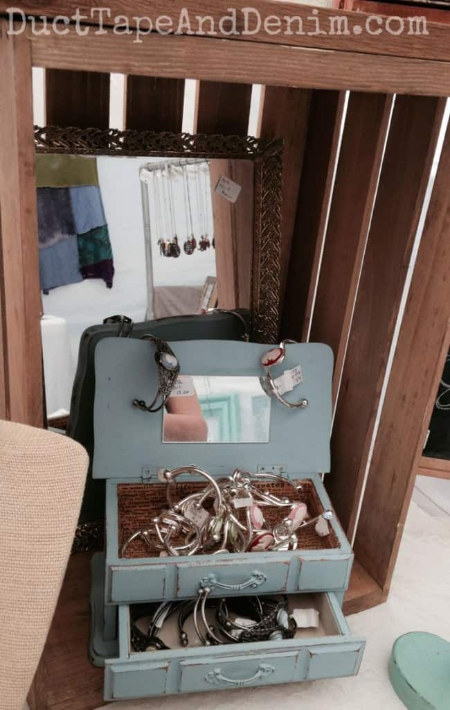 My CeCe Caldwell's Memphis Blue vintage jewelry box in our Treasure Island Flea display | DuctTapeAndDenim.com