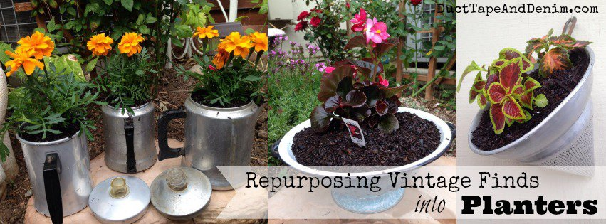 Repurposing vintage finds into planters | DuctTapeAndDenim.com