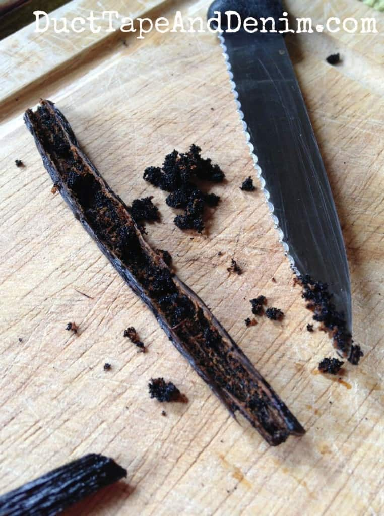 Scrape out the insides of the vanilla beans to make homemade vanilla extract   DuctTapeAndDenim.com