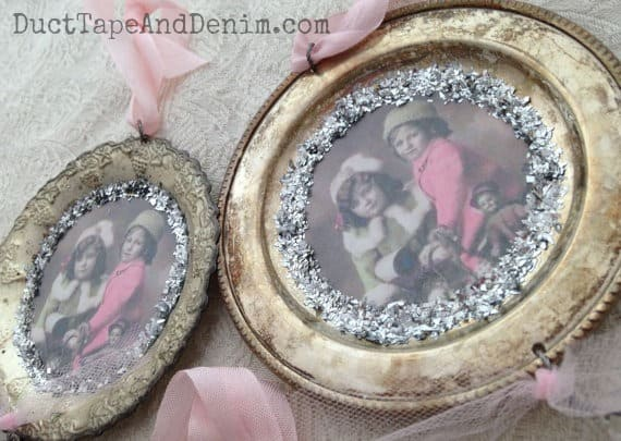 Shabby Chic pink Christmas ornaments made from vintage silver coasters DuctTapeAndDenim.com.jpg