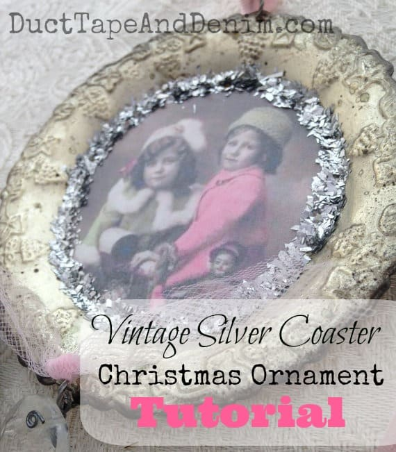 How to make shabby chic vintage silver Christmas ornaments from old coasters from thrift stores. | DuctTapeAndDenim.com