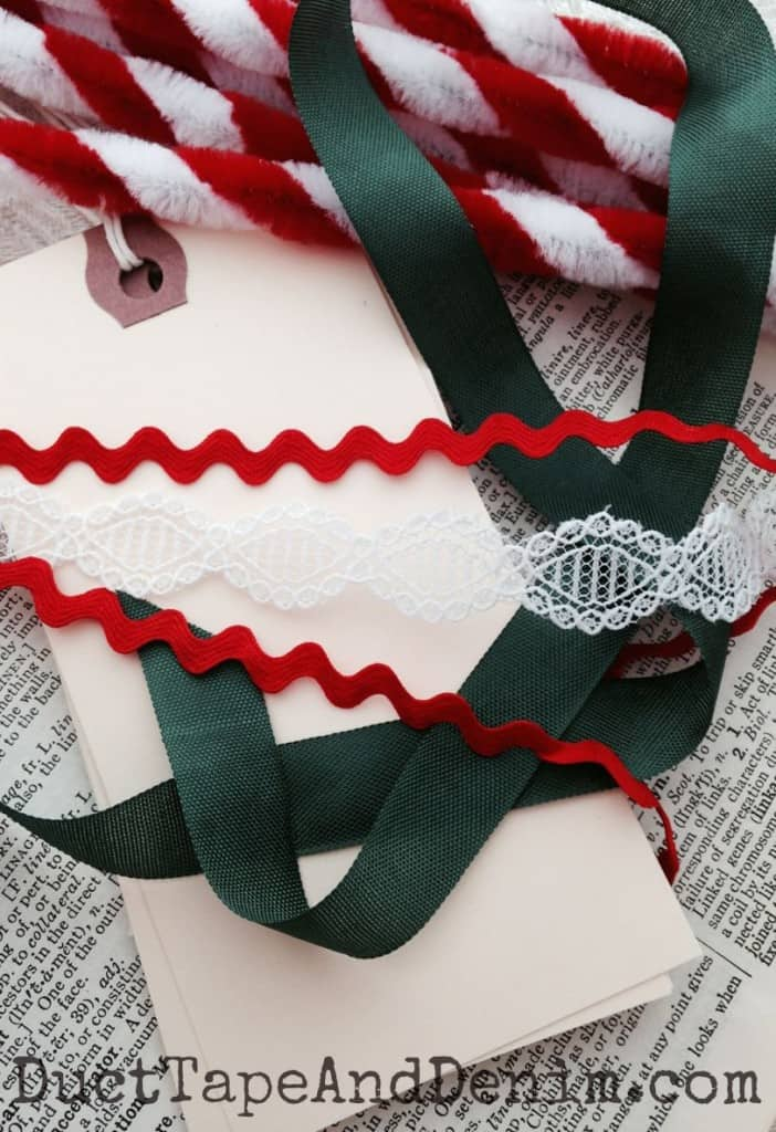 Supplies to make the candy cane Christmas gift tags