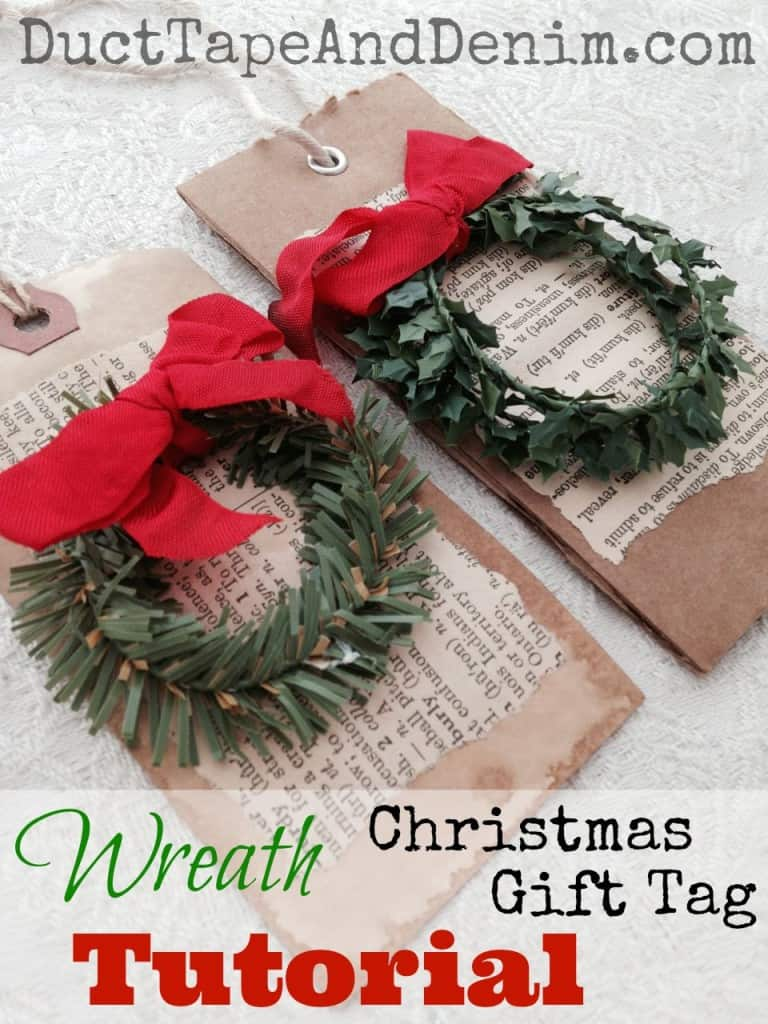 Wreath Christmas gift tag