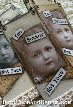 You Better Not Pout vintage mixed media Christmas ornaments | DuctTapeAndDenim.com