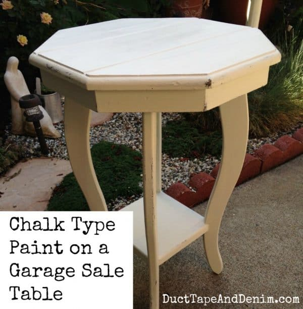 chalk type paint on a garage sale table