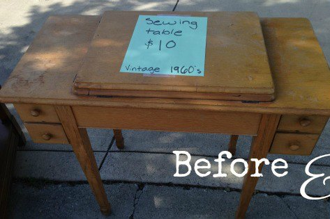 BEFORE the old sewing machine cabinet we found on the side of the street