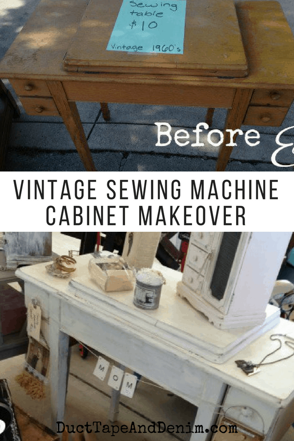 Vintage sewing machine cabinet makeover. See lots more garage sale, thrift store, and flea market makeovers on DuctTapeAndDenim.com