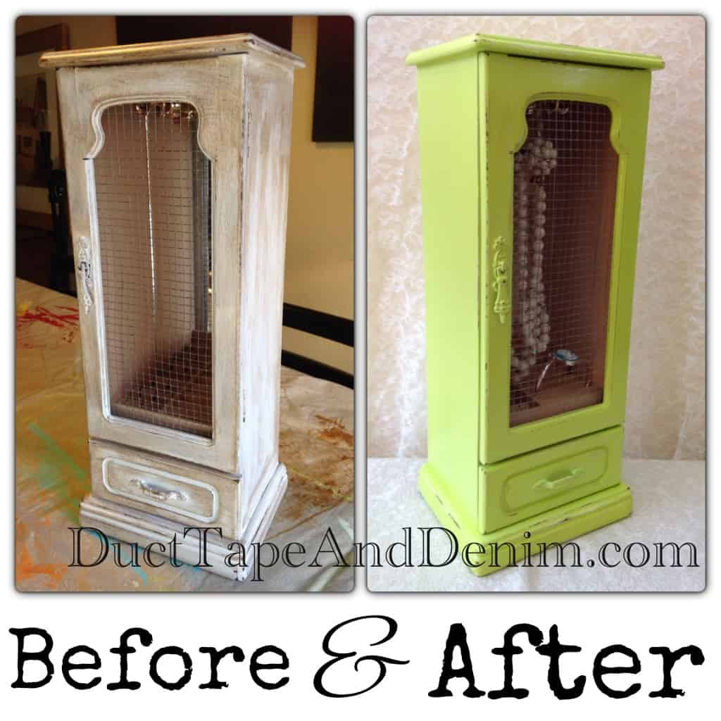 Before and after spring green jewelry cabinet | DuctTapeAndDenim.com