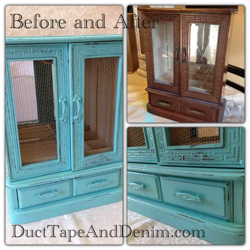 Before and after photos of the old turquoise jewelry cabinet that I painted my favorite color... turquoise! | DuctTapeAndDenim.com