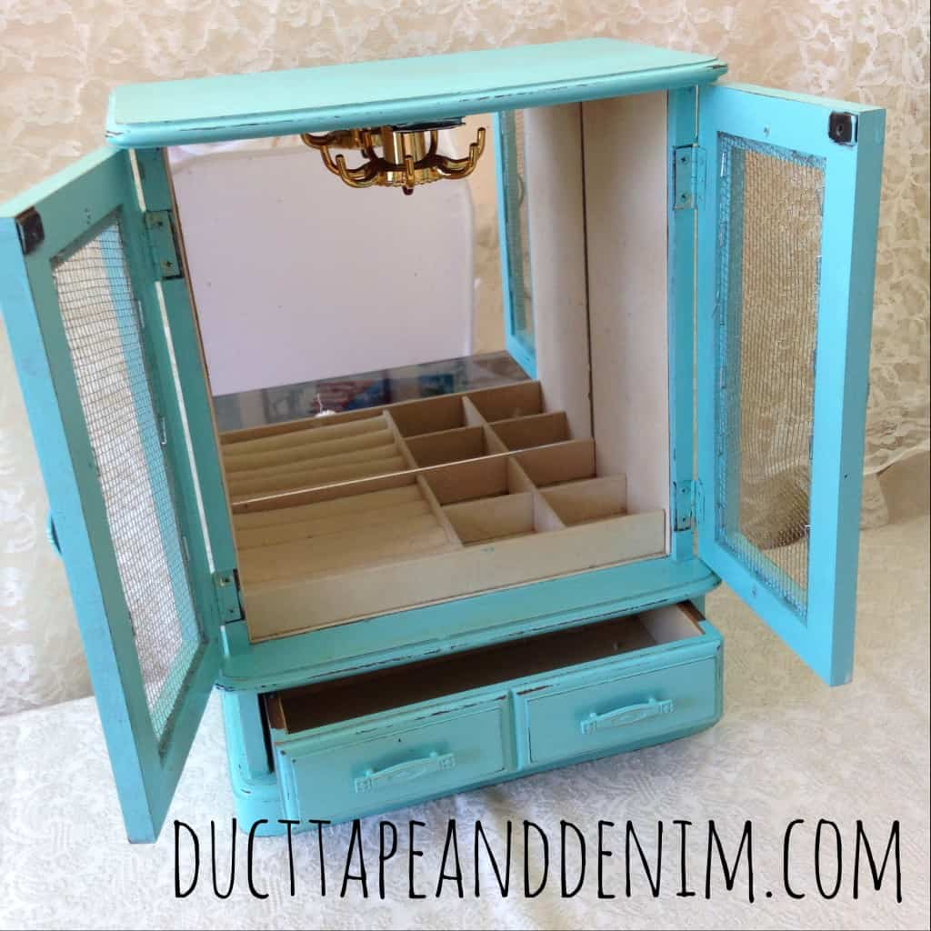 Turquoise jewelry cabinet | DuctTapeAndDenim.com