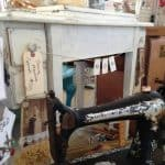 Sewing Machine Cabinet Painted Vintage White