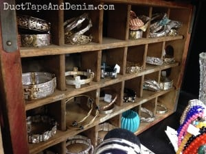 How I use my vintage Coke crate to display bracelets | DuctTapeAndDenim.com