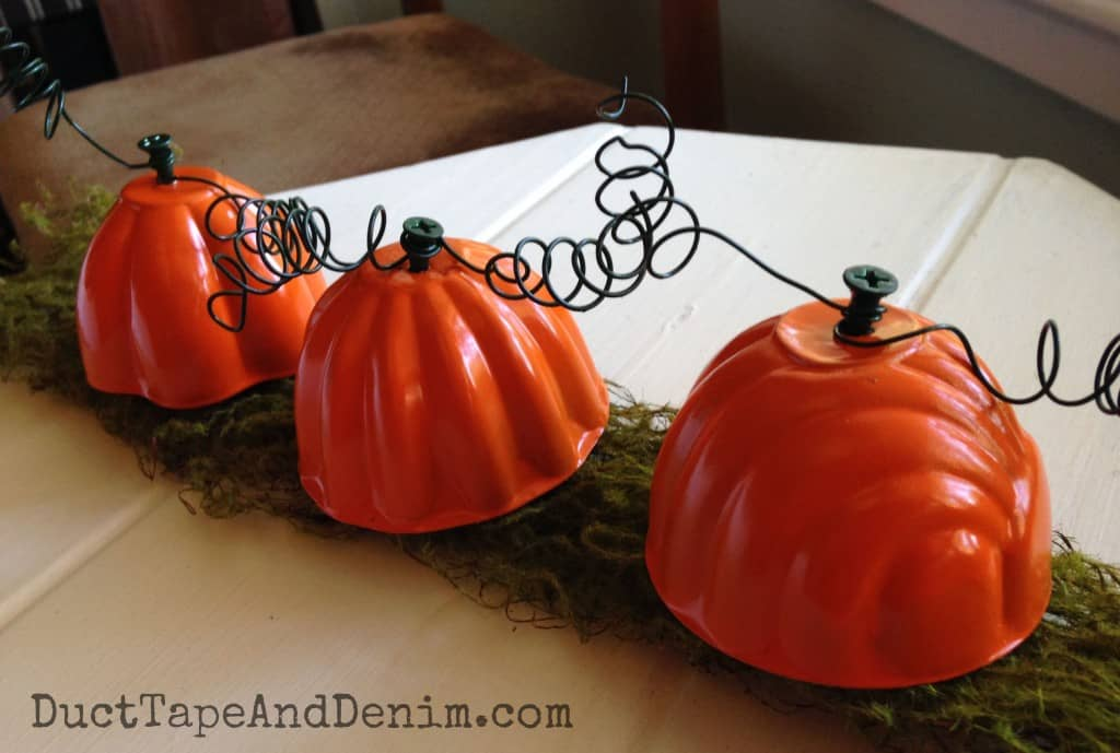 Jello mold pumpkins on moss
