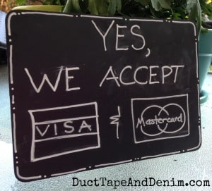 My credit card chalkboard sign for Antique Alley | DuctTapeAndDenim.com