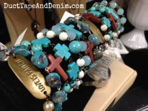 New turquoise bracelets on my shelf at Paris Flea Market | DuctTapeAndDenim.com