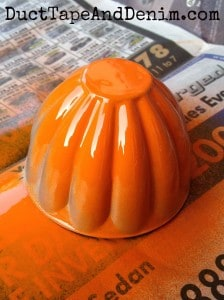 The first spray. Jello mold Pumpkin tutorial