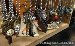 Vintage key and other necklaces at Paris Flea Market | DuctTapeAndDenim.com