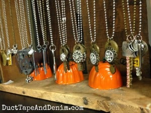 Vintage key and other necklaces in my display at Paris Flea Market | DuctTapeAndDenim.com