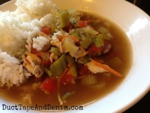 Easy Texas gumbo recipe. Other soup, stew, and more recipes on DuctTapeAndDenim.com