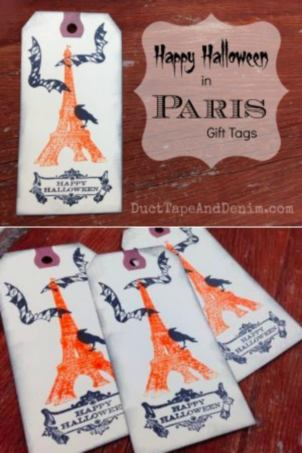 Happy Halloween in Paris Gift Tags | DuctTapeAndDenim.com
