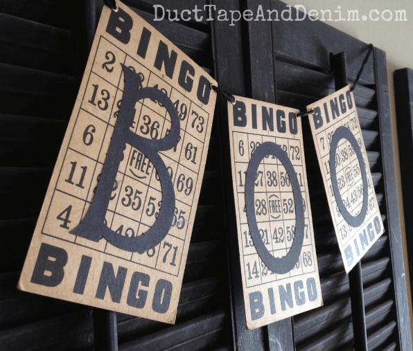 BOO - Vintage BINGO card Halloween banner tutorial | DuctTapeAndDenim.com